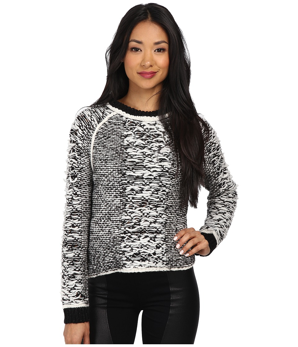 Sam Edelman - Marled Crew (Black) Women's Long Sleeve Pullover