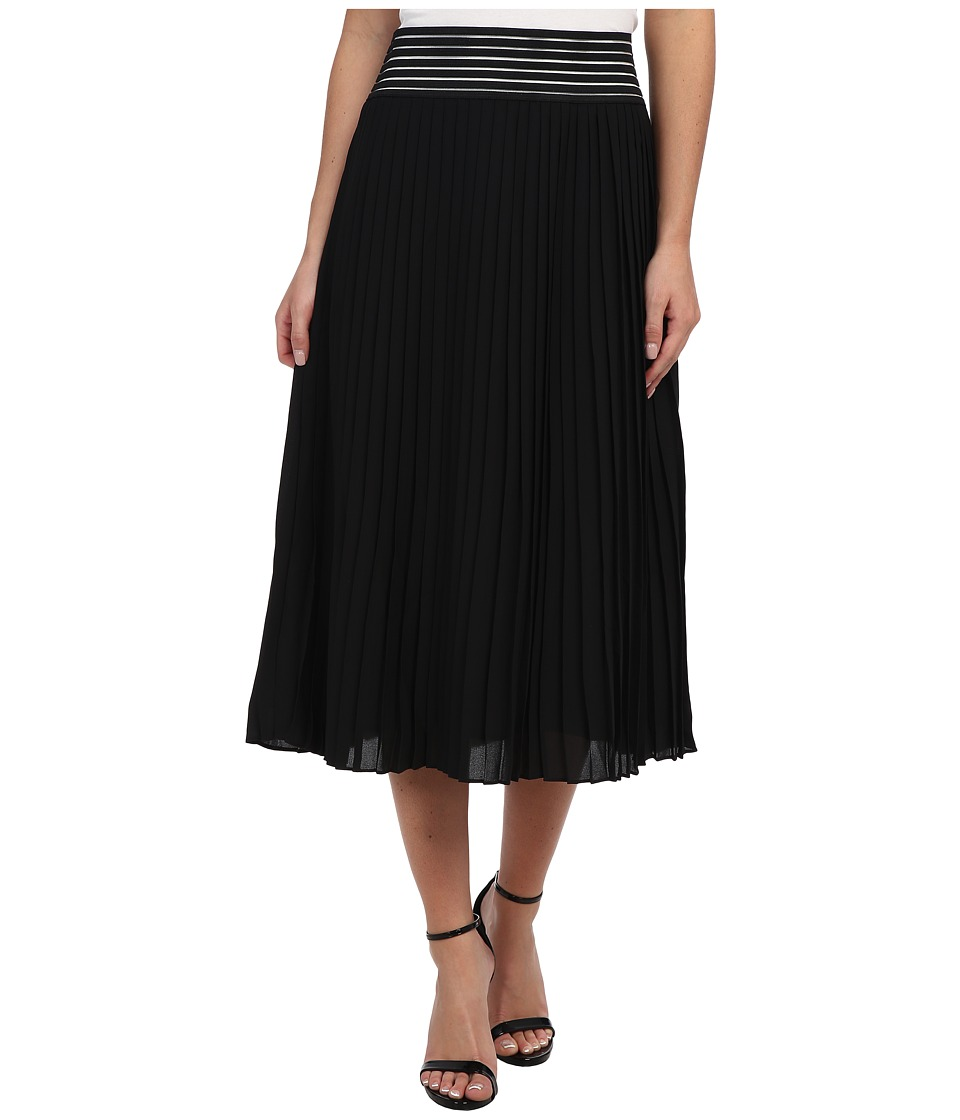 Sam Edelman - Chiffon Pleated Skirt w/ Cutout (Black) Women