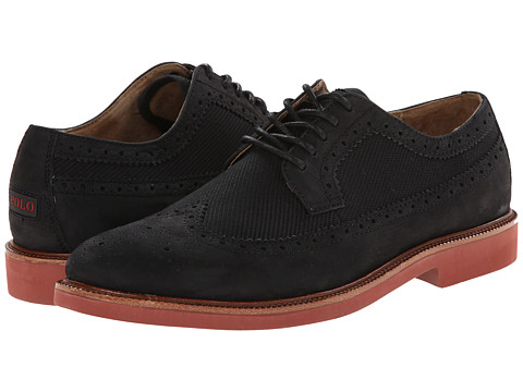 Polo Ralph Lauren - Torrington Wingtip (Black/Polo Black Tumbled Nubuck/Calvary Twill) Men's Lace Up Wing Tip Shoes