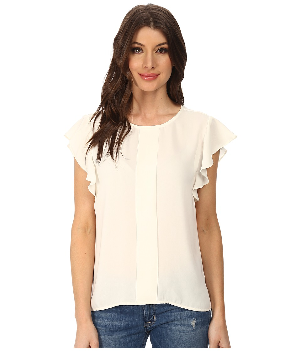Adrianna Papell - Flutter Sleeve Top w/ Front Pleat (Ivory) Women