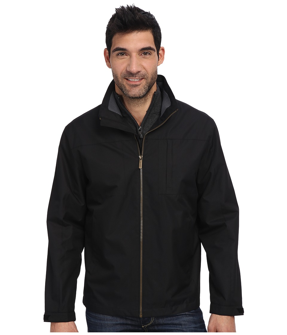 London Fog - 28 Moto Dobby Zip Front Multi Plt Hipster w/ Foam Mesh Collar Insert (Black) Men's Coat