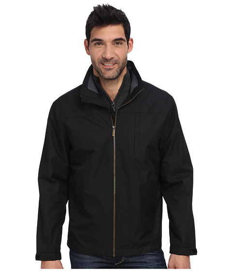 London Fog - 28 Moto Dobby Zip Front Multi Plt Hipster w/ Foam Mesh Collar Insert (Black) Men