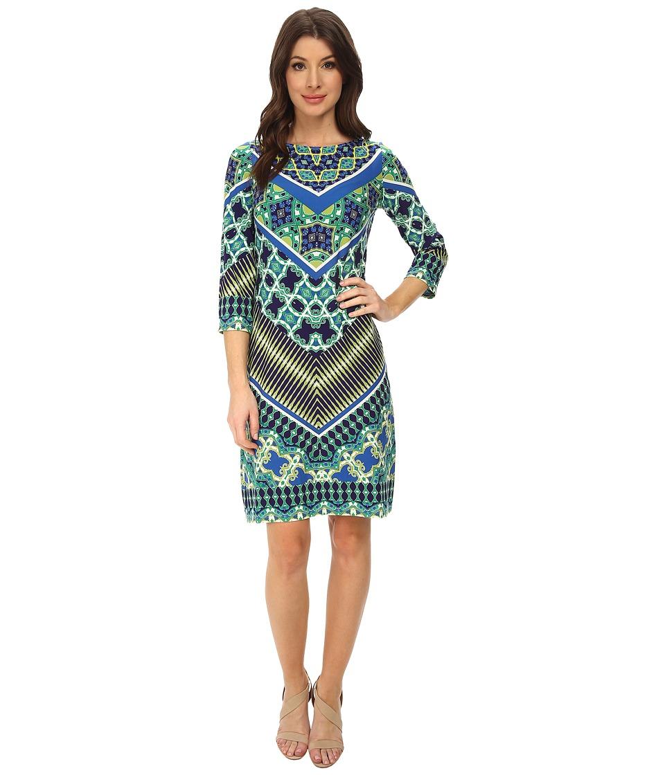 London Times - 3/4 Sleeve Printed Shift Dress (Blue Multi) Women