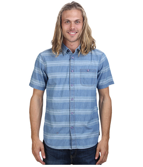 VISSLA - Vic Sander S/S Woven (Light Blue) Men's Short Sleeve Button Up