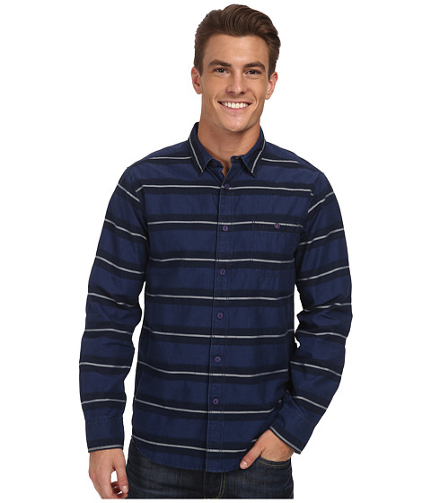 VISSLA - Vic Sander L/S Woven (Indigo) Men's Long Sleeve Button Up