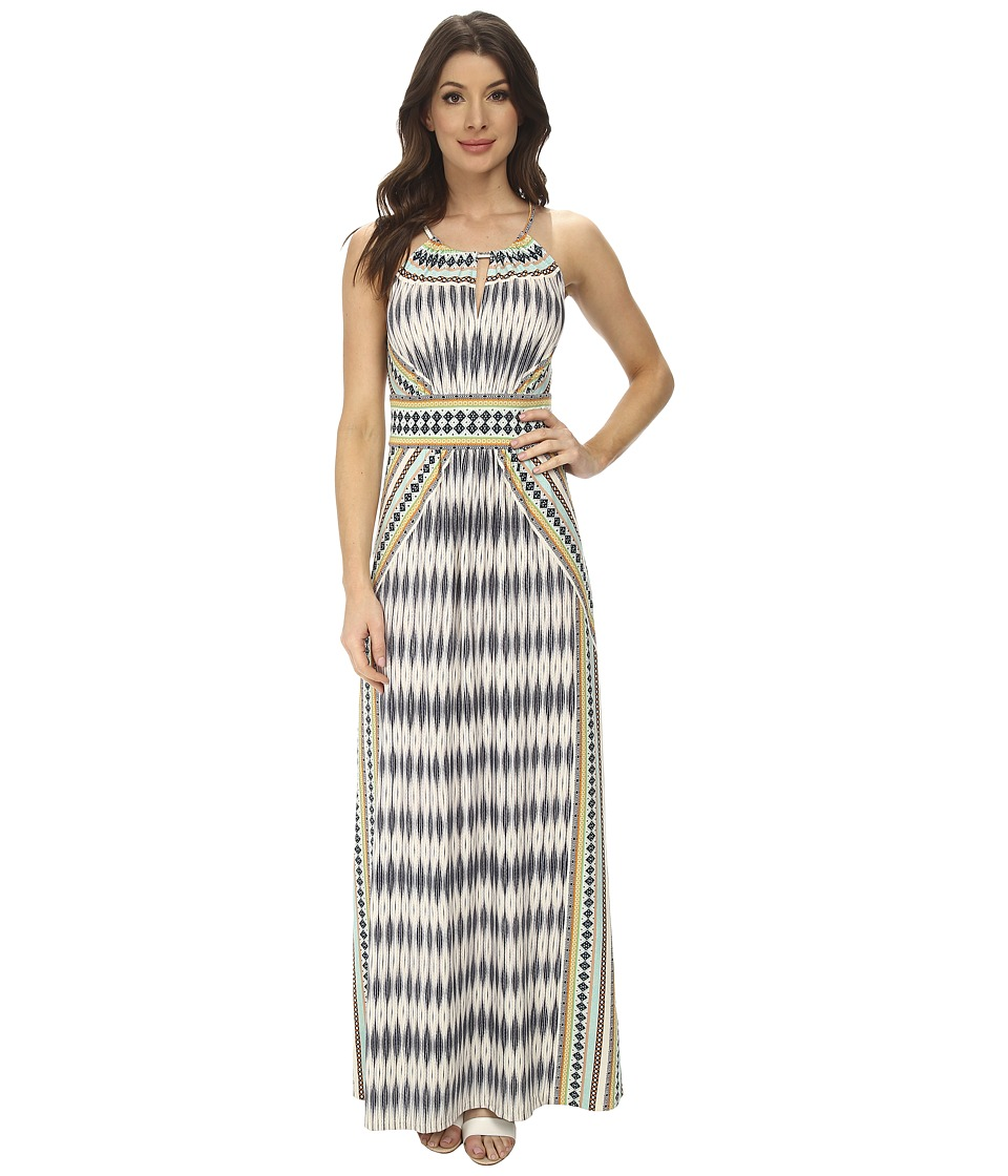 London Times - Ikat Diamond Halter Maxi Dress (Multi) Women's Dress