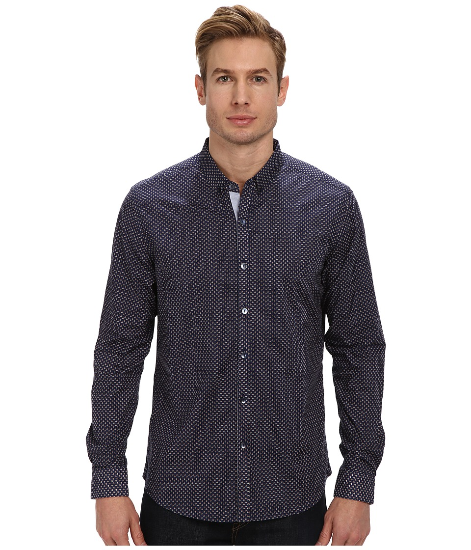 7 Diamonds - Night Crawler L/S Shirt (Navy) Men's Long Sleeve Button Up