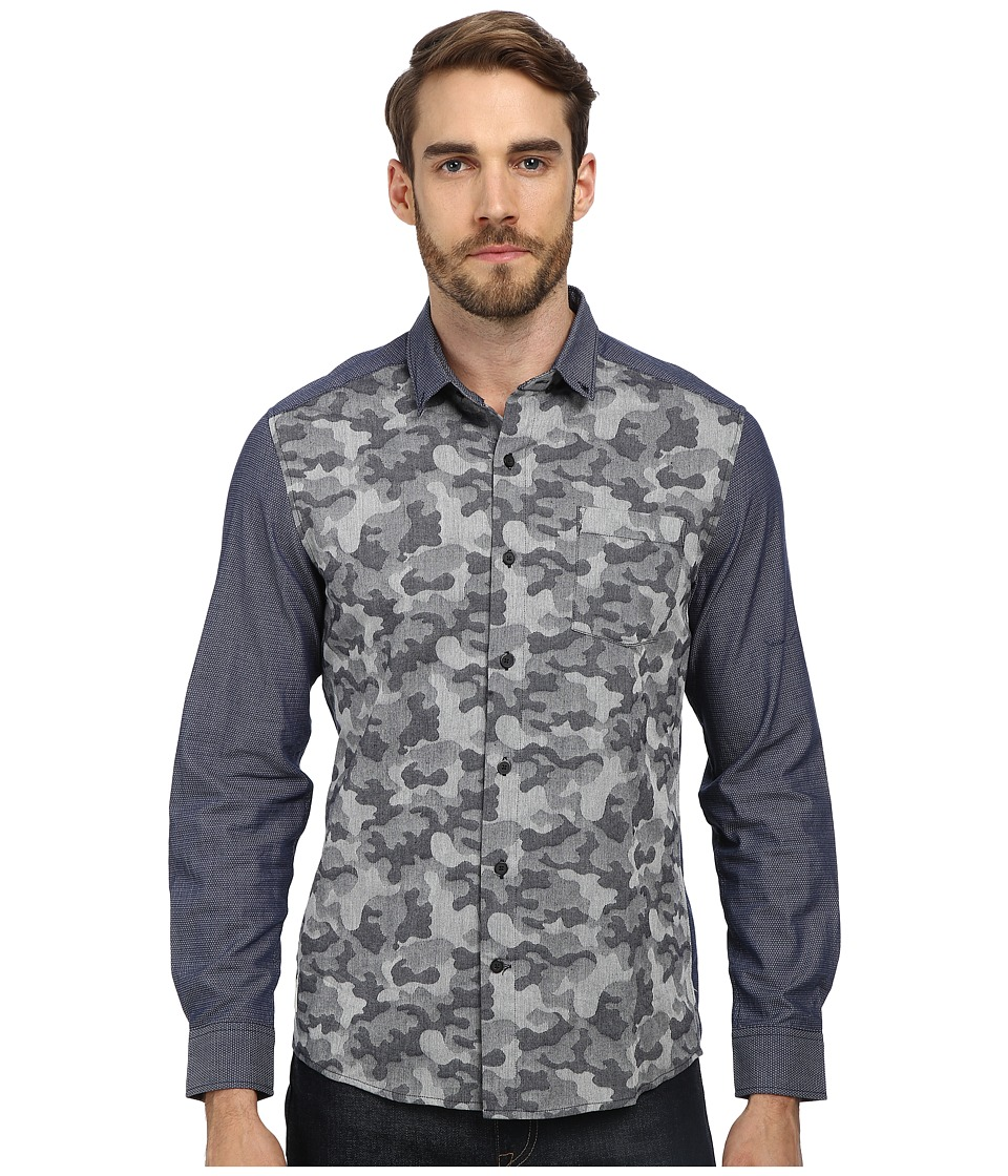 7 Diamonds - Battle Of Royale L/S Shirt (Blue) Men's Long Sleeve Button Up