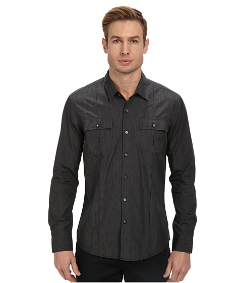 7 Diamonds - Under Control L/S Shirt (Chacoal) Men's Long Sleeve Button Up