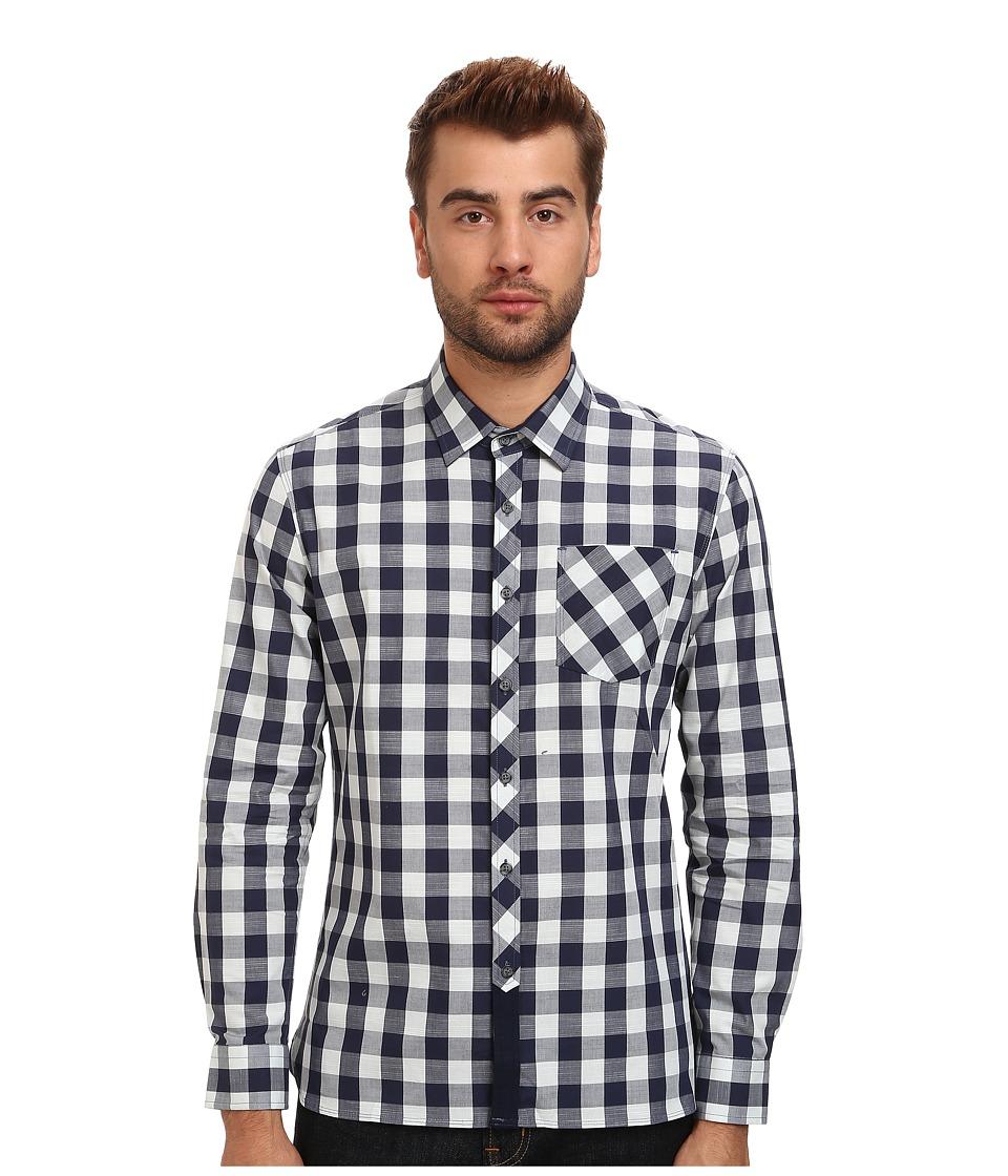 7 Diamonds - Rip Tide L/S Shirt (Navy) Men's Long Sleeve Button Up