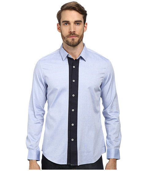 7 Diamonds - Man In A Suitcase L/S Shirt (Blue) Men's Long Sleeve Button Up
