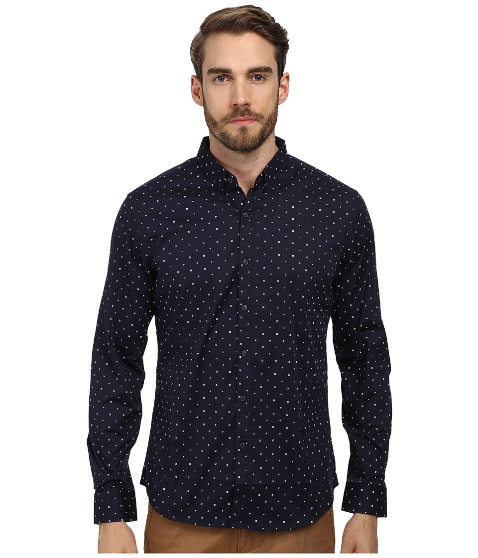 7 Diamonds - Love Club L/S Shirt (Navy) Men's Long Sleeve Button Up