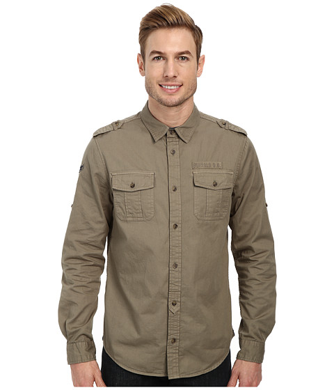 Buffalo David Bitton - Sigma Long Sleeve Woven Shirt (Army Green Combo) Men