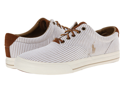 Polo Ralph Lauren - Vaughn (A Khaki/White Shirting Stripe/Sport Suede) Men's Lace up casual Shoes
