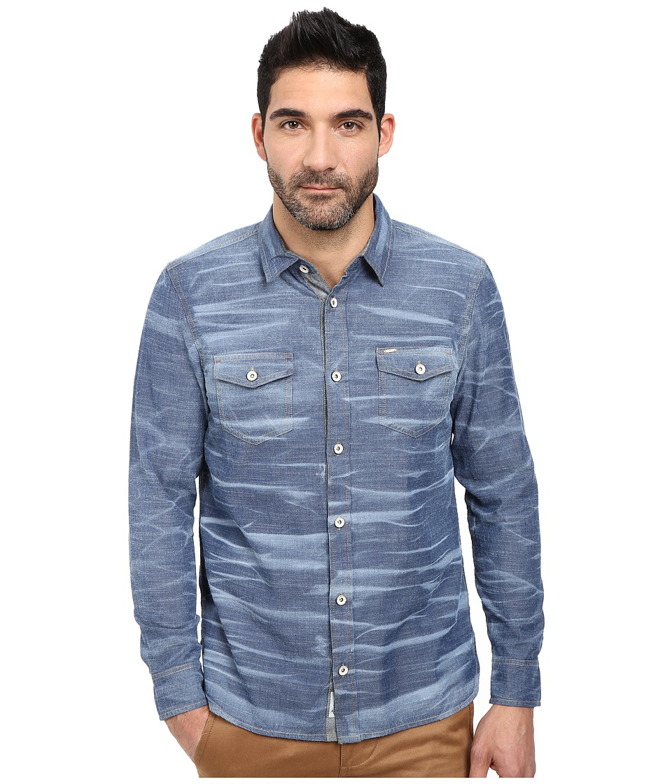 Buffalo David Bitton - Siqul L/S Bleach Effect Chambray Woven Shirt (Indigo Combo) Men's T Shirt