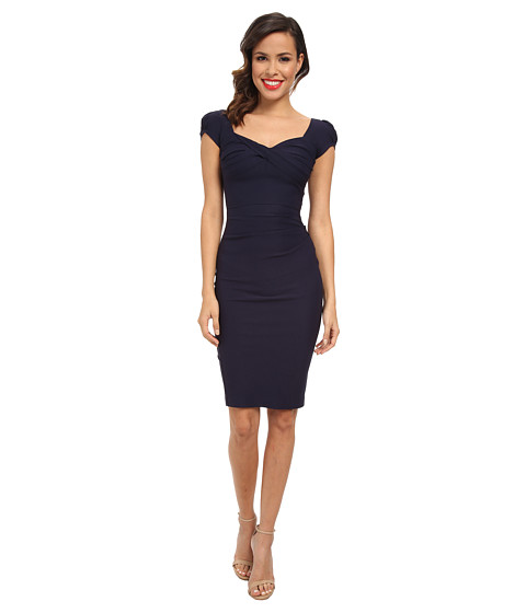 Stop Staring! - Elegant Cap Sleeve Dress (Navy) Women