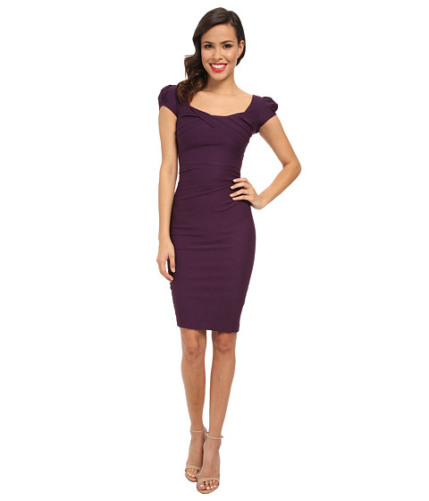 Stop Staring! - Elegant Cap Sleeve Dress (Eggplant) Women's Dress