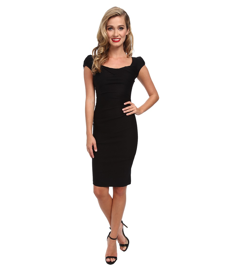Stop Staring! - Elegant Cap Sleeve Dress (Black) Women's Dress