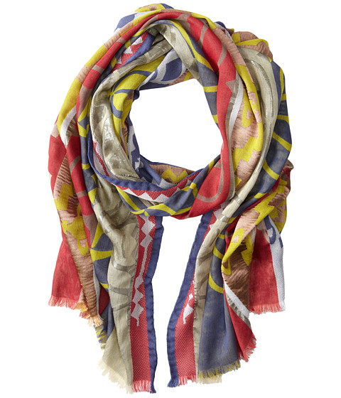 Vivienne Westwood - Striped Graphic Print Scarf (Blue) Scarves