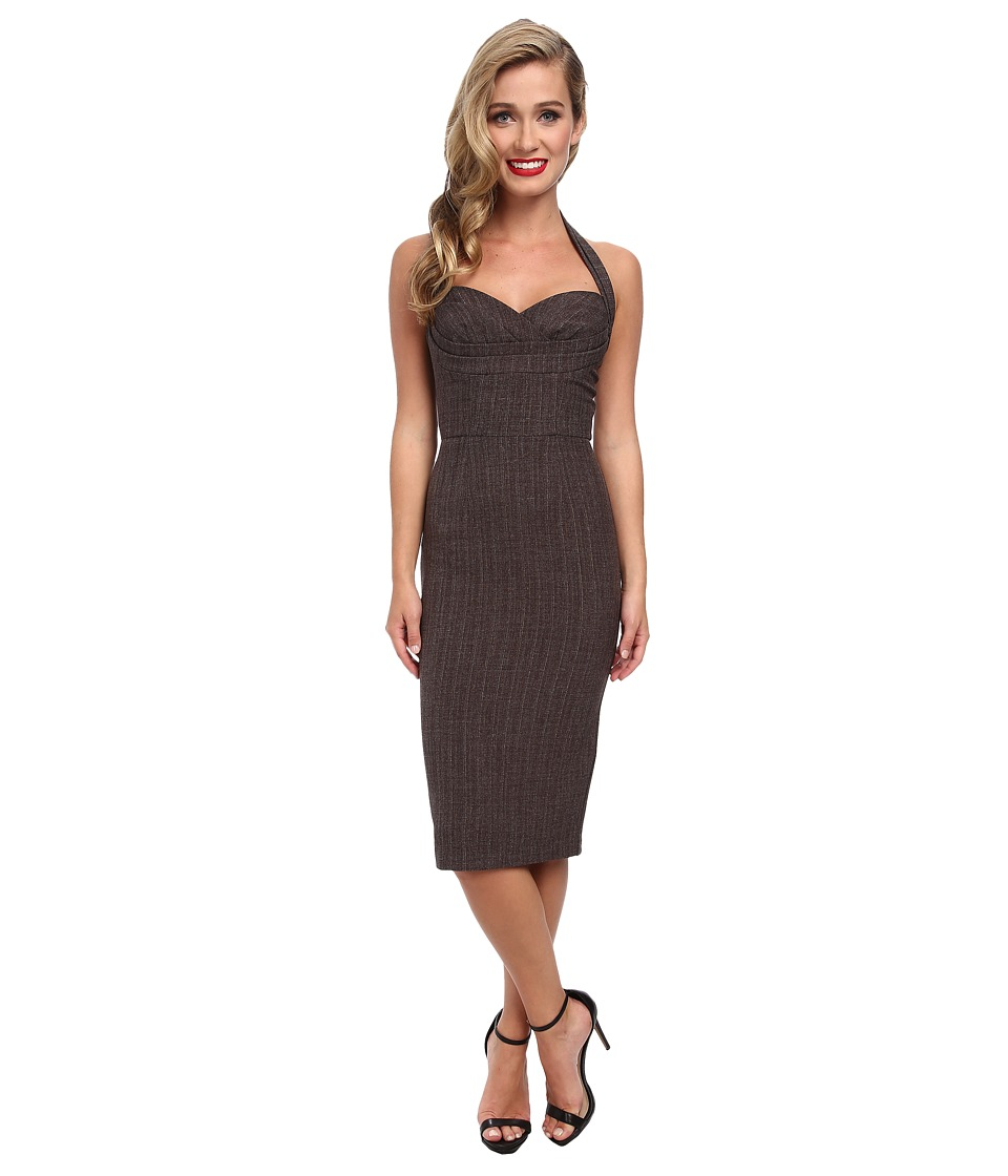 Stop Staring! - Pinstripe Halter Dress (Choclate) Women
