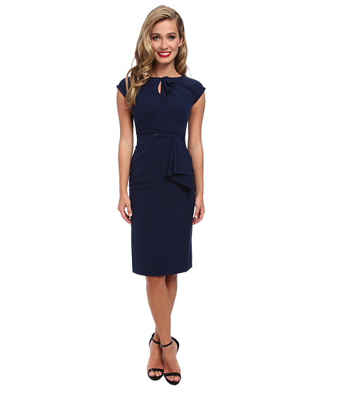 Stop Staring! - Keyhole Front Classic Dress (Navy) Women's Dress