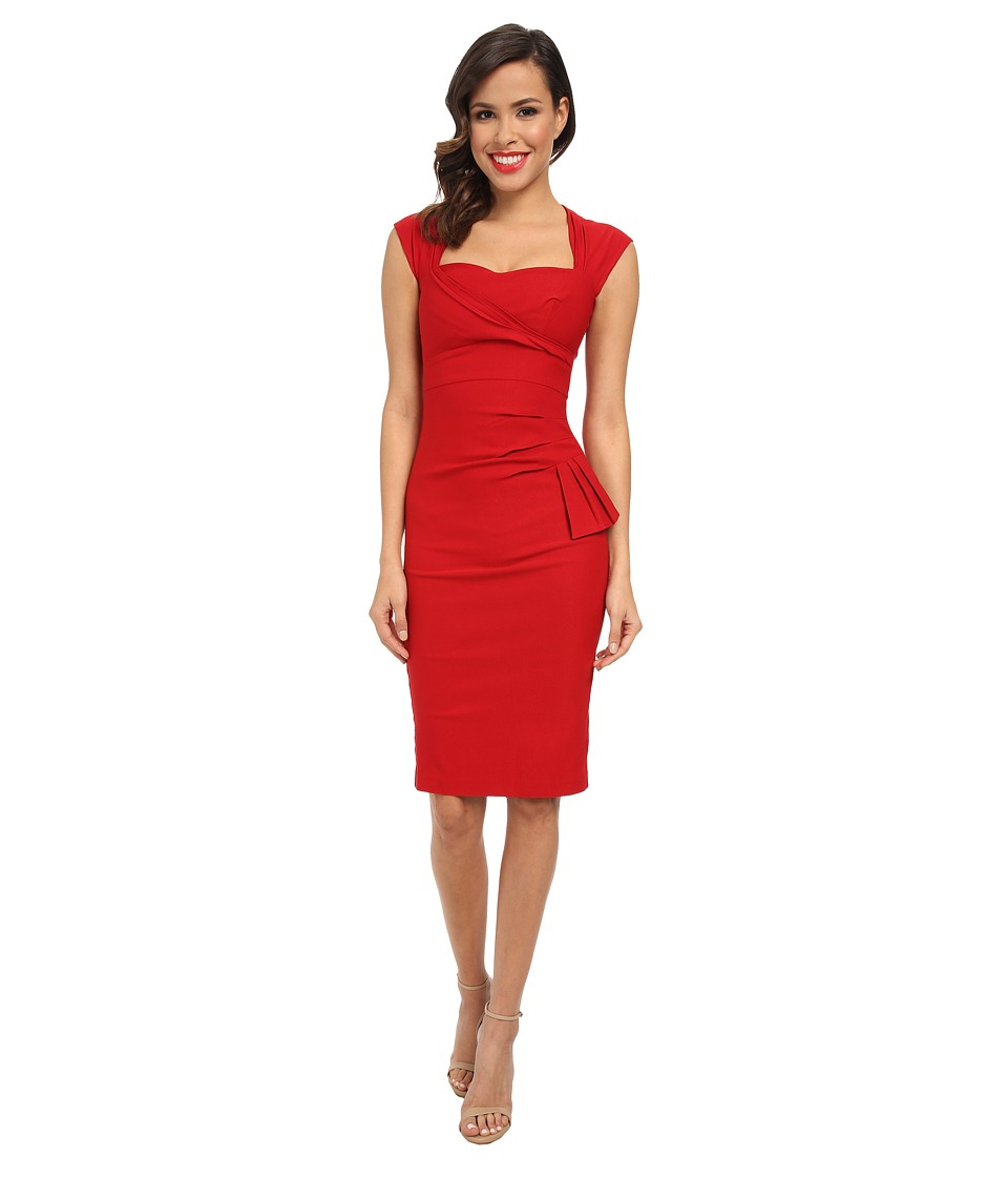 Stop Staring! - Sweet Heart Neckline Side Detail Dress (Red) Women's Dress