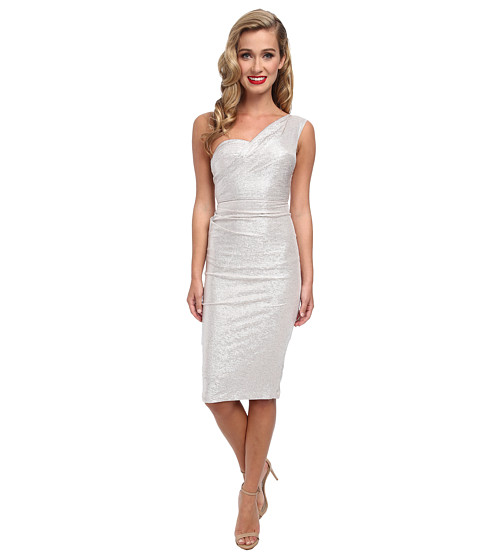Stop Staring! - One Shoulder Silver Metalic Dress (Silver) Women