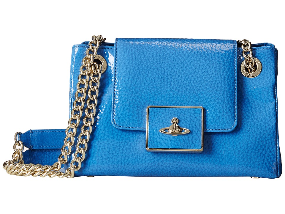 Vivienne Westwood - Double Strap Orb Shoulder Bag (Blue) Shoulder Handbags