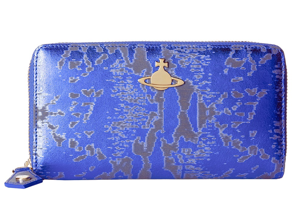 Vivienne Westwood - Metallic Zip-Around Wallet (Blue) Wallet Handbags