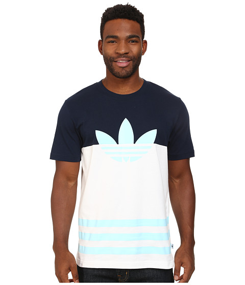 adidas Originals - Color Block Trefoil Tee (White/Collegiate Navy/Blush Blue) Men