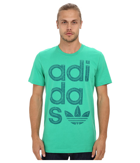 adidas Originals - Reverse Print Wrap Logo Tee (Surf Green/Surf Petrol) Men's T Shirt