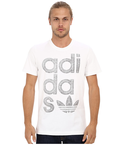 adidas Originals - Reverse Print Wrap Logo Tee (White/Grey Heather) Men