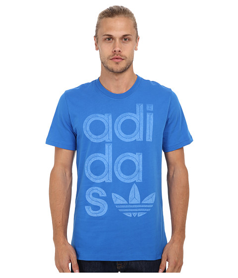 adidas Originals - Reverse Print Wrap Logo Tee (Bluebird/Blue Blue) Men