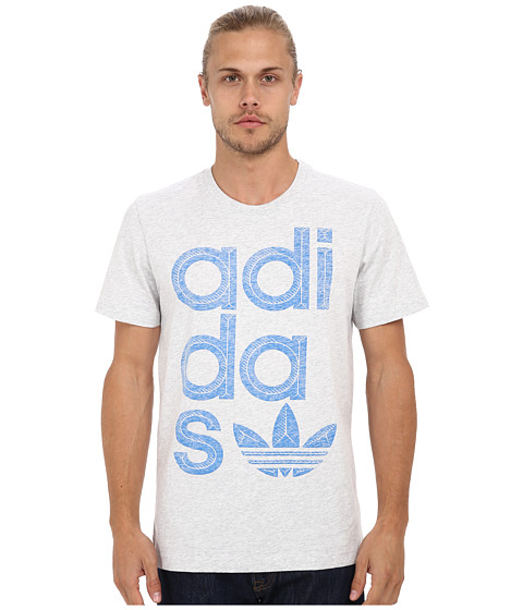 adidas Originals - Reverse Print Wrap Logo Tee (Light Grey Heather/Blubird) Men's T Shirt