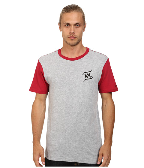 RVCA - Script VA Baseball Tee (Athletic Heather/Red) Men