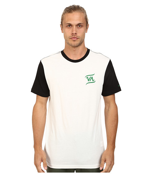 RVCA - Script VA Baseball Tee (White/Black) Men's T Shirt