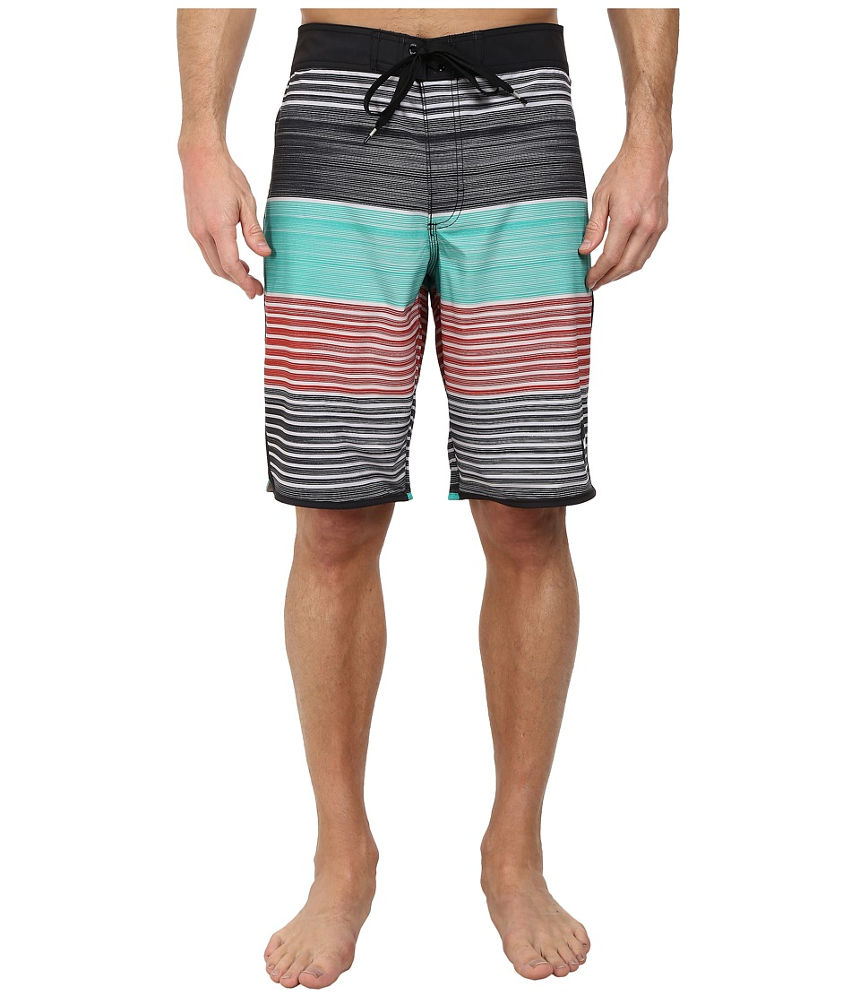 RVCA - Sunday Stripe 21 Trunk (Black) Men's Swimwear