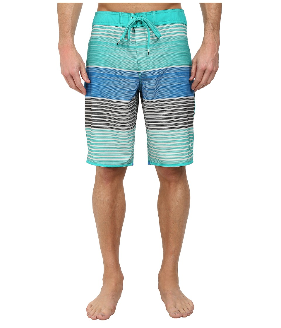 RVCA - Sunday Stripe 21 Trunk (Bright Green) Men's Swimwear