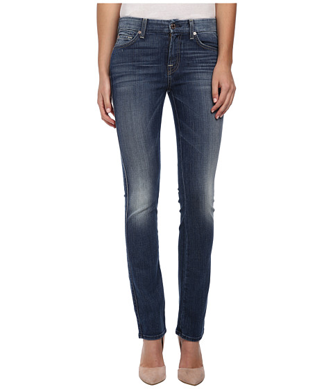 7 For All Mankind - Kimmie Straight in Slim Illusion Aggressive Atlas Blue (Slim Illusion Aggressive Atlas Blue) Women