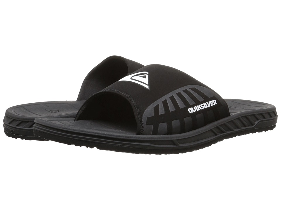 Quiksilver Triton Slide (Black/Black/White Multi Snake) Men