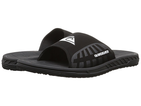 Quiksilver - Triton Slide (Black/Black/White Multi Snake) Men