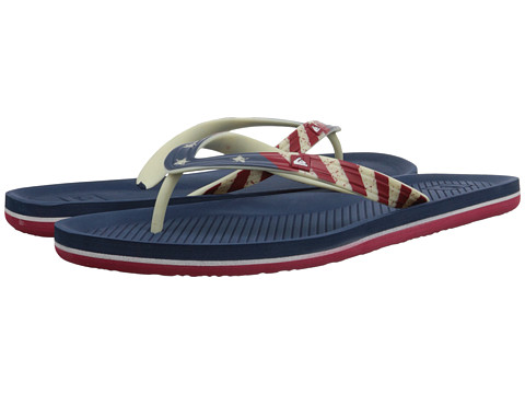 Quiksilver - Haleiwa Print (White/Red/Blue) Men's Sandals