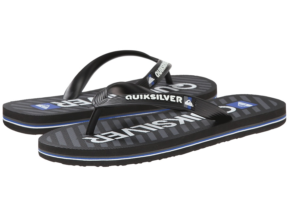 Quiksilver - Molokai Wordmark (Black/Grey/White) Men's Toe Open Shoes