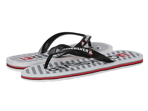 Quiksilver - Molokai Wordmark (Black/White/White) Men's Toe Open Shoes