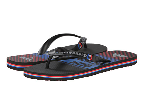 Quiksilver - Molokai Vertigo Stripe (Black/Blue/Red) Men's Toe Open Shoes