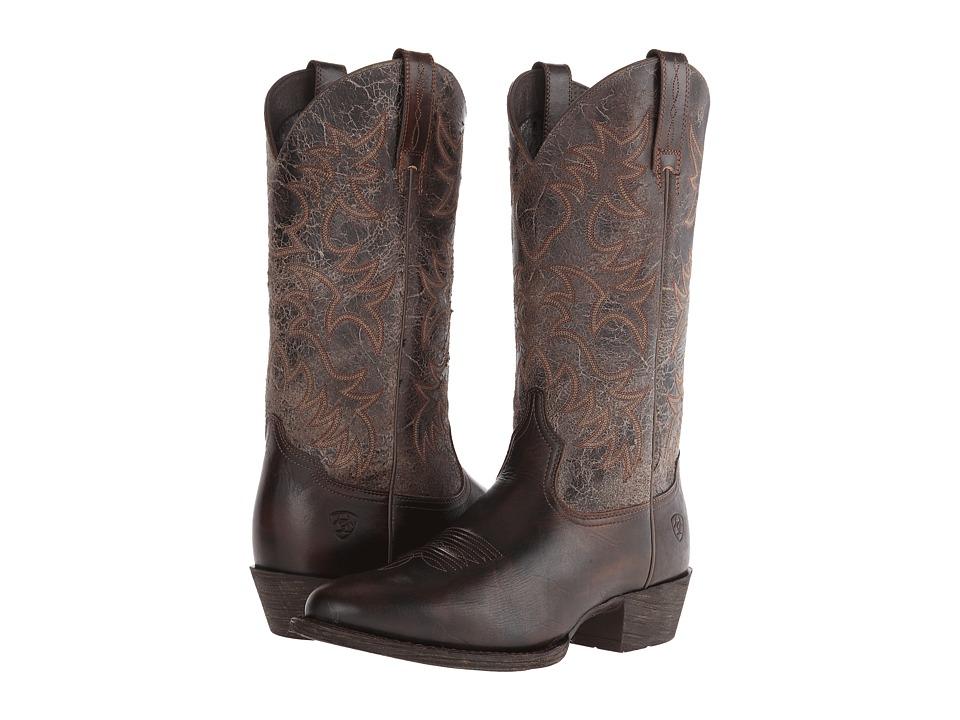 Ariat - Heritage Western R Toe (Brushed Brown/Broken Slate) Cowboy Boots