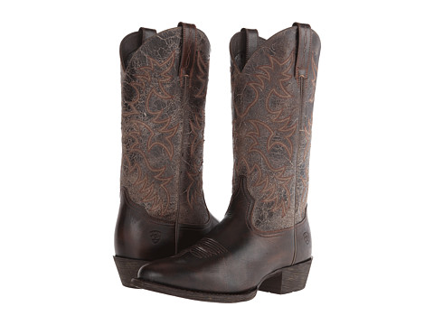 Ariat - Heritage Western R Toe (Brushed Brown/Broken Slate) Cowboy Boots