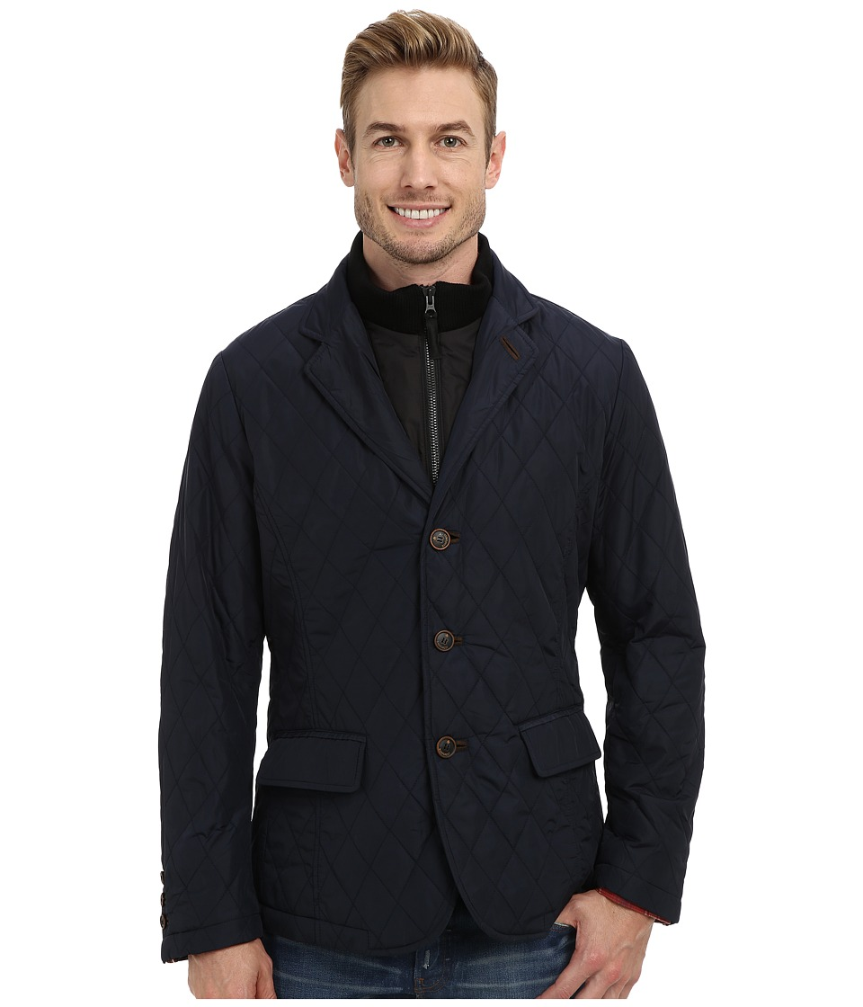 Rainforest - Waxed Nylon Quilt Blazer w/ Bib (Navy) Men
