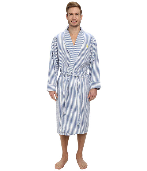 U.S. POLO ASSN. - Woven Seersucker Robe (Nautical Blue) Men
