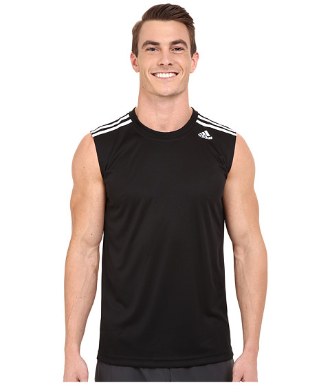 adidas - All World Sleeveless Tee (Black/White) Men's Sleeveless